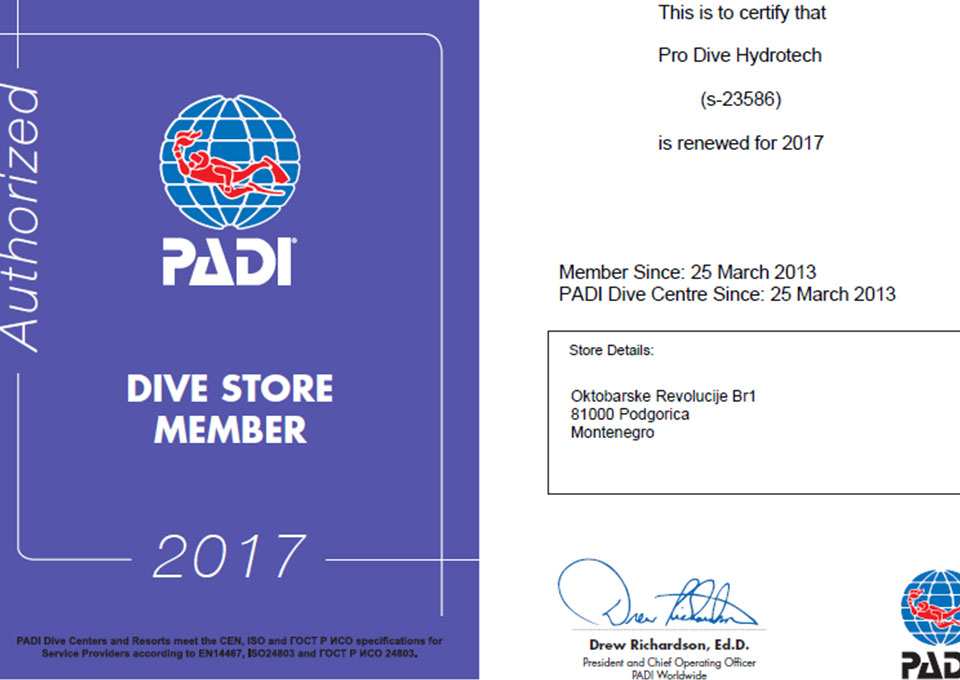pro diving montenegro center padi membership certificate